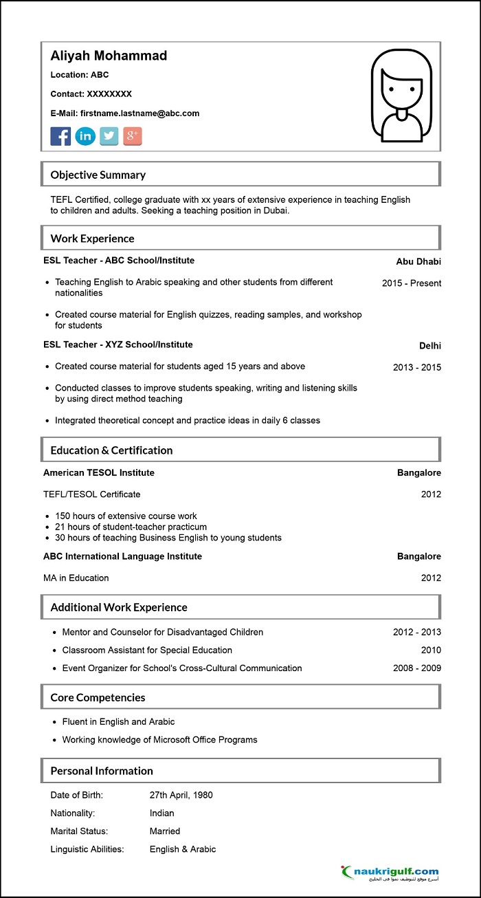 how to write a cv for english teaching jobs in dubai